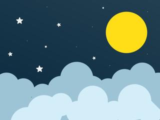 Dark blue night sky with moon, cloud and stars.