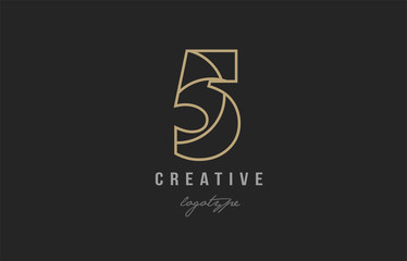 black and yellow gold number 5 logo company icon design