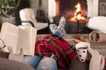 reading book in the warm home