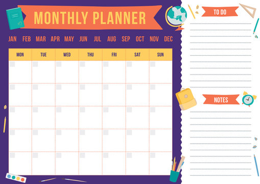 Cute monthly planner with hand drawn school elements. Template with place for notes. Vector illustration for print, office, school.