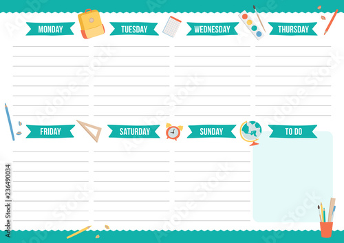 picture about Cute Weekly Planner named Lovable weekly planner with hand drawn higher education factors
