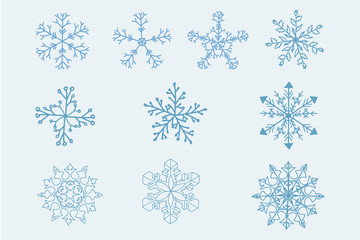 Snowflake vector icon background set blue color. Winter white christmas snow flake element. Weather illustration ice collection. Xmas frost flat isolated silhouette symbol