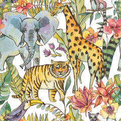 Watercolor jungle seamless pattern, Natural Exotic Tropical texture with animals, flowers of orchids