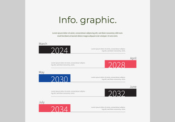 Timeline Infographic Layout with Multicolored Headers