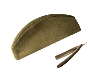 Soviet soldier's cap of the Second World War, isolated on white background.   cap side view