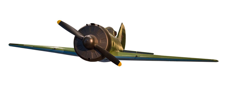 Soviet aircraft of World War II isolated on white background. airplane front view