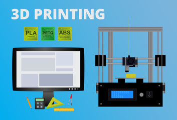 Fototapeta Vector concept of 3D printing. Icon of fused deposition modeling printer, lcd monitor with program, polymers used as filaments – pla, abs, petg and tools for printer. Design on a blue background. obraz
