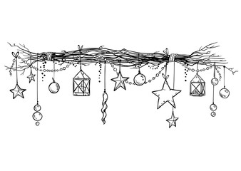 Christmas and New Year decoration. Festive garland vector sketch.