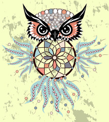 Dreamcatcher with owl. Zentangle. Abstract bird. Mystic symbol. American Indians symbol. for spiritual relaxation for adults. Decorative