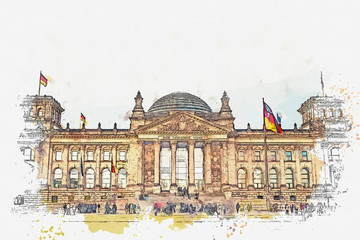 Watercolor sketch or illustration of a beautiful view of the Reichstag building. One of the attractions of Berlin in Germany and a favorite place to visit tourists.