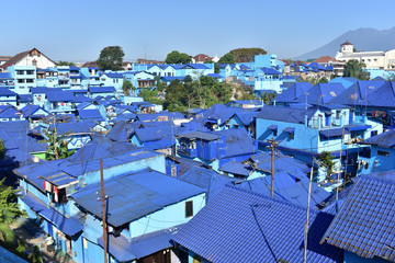 Panoramic view of village with old houses and rooftops painted in blue color in village Kampung Biru Arema, Malang City, Central Asia, Indonesia