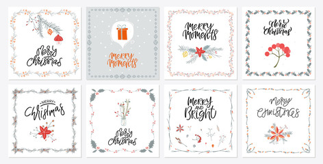 Collection cute Merry Christmas gift cards and set of elements