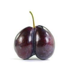 Double plum isolated on the white background