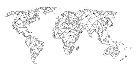 Polygonal mesh map of world in black color. Abstract mesh lines, triangles and points with map of world. Wire frame 2D polygonal line network in vector format. Carcass model for political purposes.