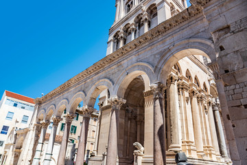 Cathedral of St. Duje and the old city in the city of Split.