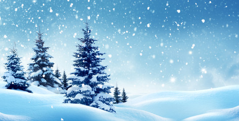Wall Mural - Christmas background with snow.Winter night landscape. Happy new year greeting card with copy-space.