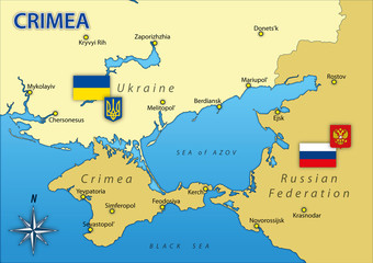 Crimea peninsula map with borders and flags, vector illustration