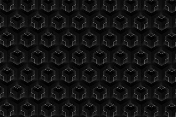 Modern and stylish digital geometric black background with different shapes.
