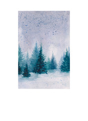 watercolor illustration of a winter day