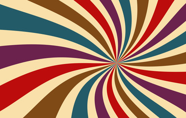 retro starburst or sunburst background vector pattern with a dark vintage color palette of red purple blue brown and beige in a spiral or swirled radial striped design