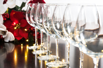 Wine Glasses and Poinsettia