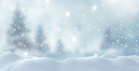 Wall Mural - Merry Christmas and happy New Year greeting card with copy-space.Christmas background.Winter landscape with snow