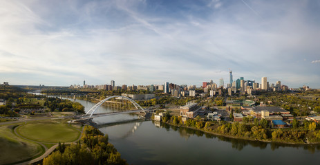 Aerial panoramic view of the beautiful modern city during a sunny day. Taken in Edmonton, Alberta, Canada.