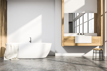 White and wood bathroom interior