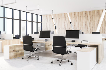 White and wooden open space office corner