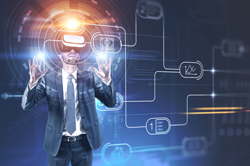 Man in vr glasses, business plan interface