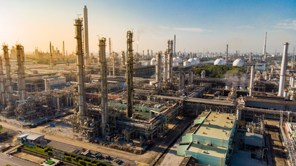 Aerial view of Oil and gas industry. warm light tone.