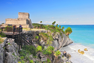 Tulum, the site of a pre Columbian Mayan walled city serving as a major port for Coba, in the Mexico state of Quintana Roo.