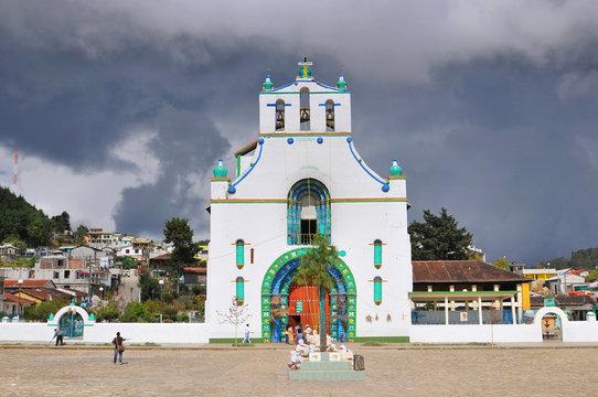 Templo de San Juan Bautista in Chamula, an indigenous town with unique autonomous status in Mexico & no outside police force, near San Cristobal de las Casas, Chiapas, Mexico.