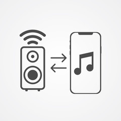 Phone pairing with speaker vector icon sign symbol