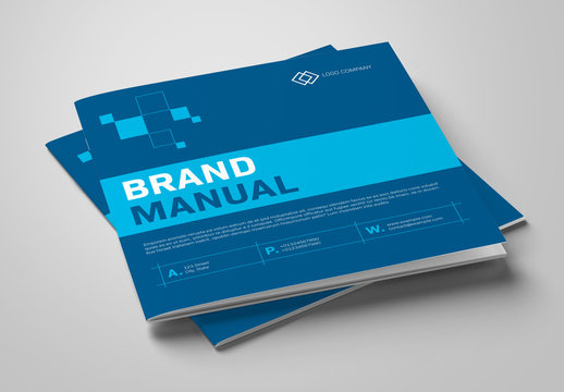 Brand Manual Layout with Blue Accents