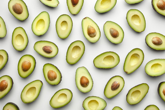 Avocado wallpaper on white background.