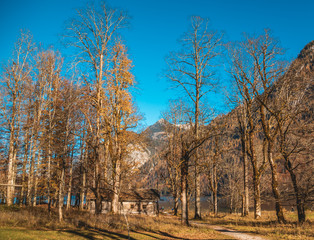 Beautiful autumn view at the famous Koenigssee-Bavaria-Germany