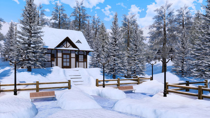 Wall Mural - Cozy snowbound half-timbered alpine rural house among snow covered fir trees high in snowy mountains at frosty winter day. With no people 3D illustration.