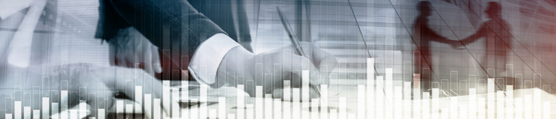 Business and finance graph on blurred background. Trading, investment and economics concept. Website header banner.