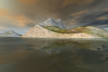 Islands, a rocky landscape, grass on the ground, reflection on water and a clouds in the sky.
