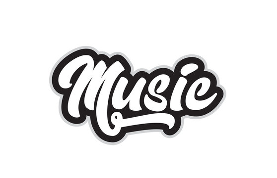 black and white music hand written word text for typography logo design