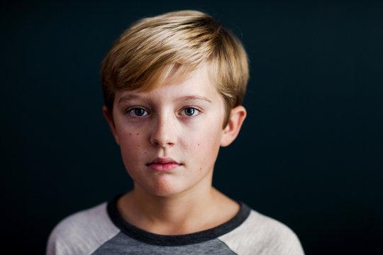portrait of a serious boy