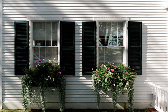 Two windows with flower boxes.