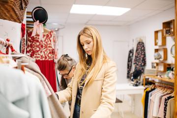 Woman choosing dress