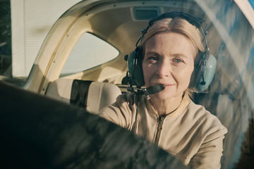 Experienced female pilot at the wheel