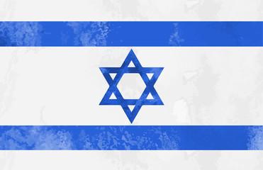 Watercolor Israel flag background. vector illustration. eps 10