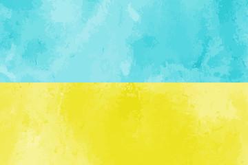 Watercolor Ukraine flag background. Vector illumration eps10.