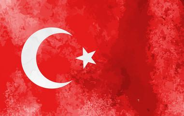 Watercolor Turkey flag background. Vector illumration eps10.
