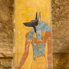 Anubis in a tomb in the valley of the kings