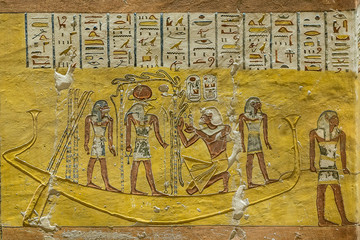 Ancient egyptian wall-painting in the interior of a tomb in the valley of the kings